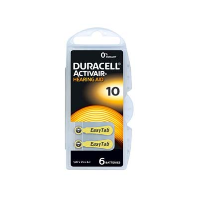 duracell hearing aid batteries size 10 yellow